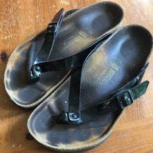 Birkenstock Patent Flip Flops